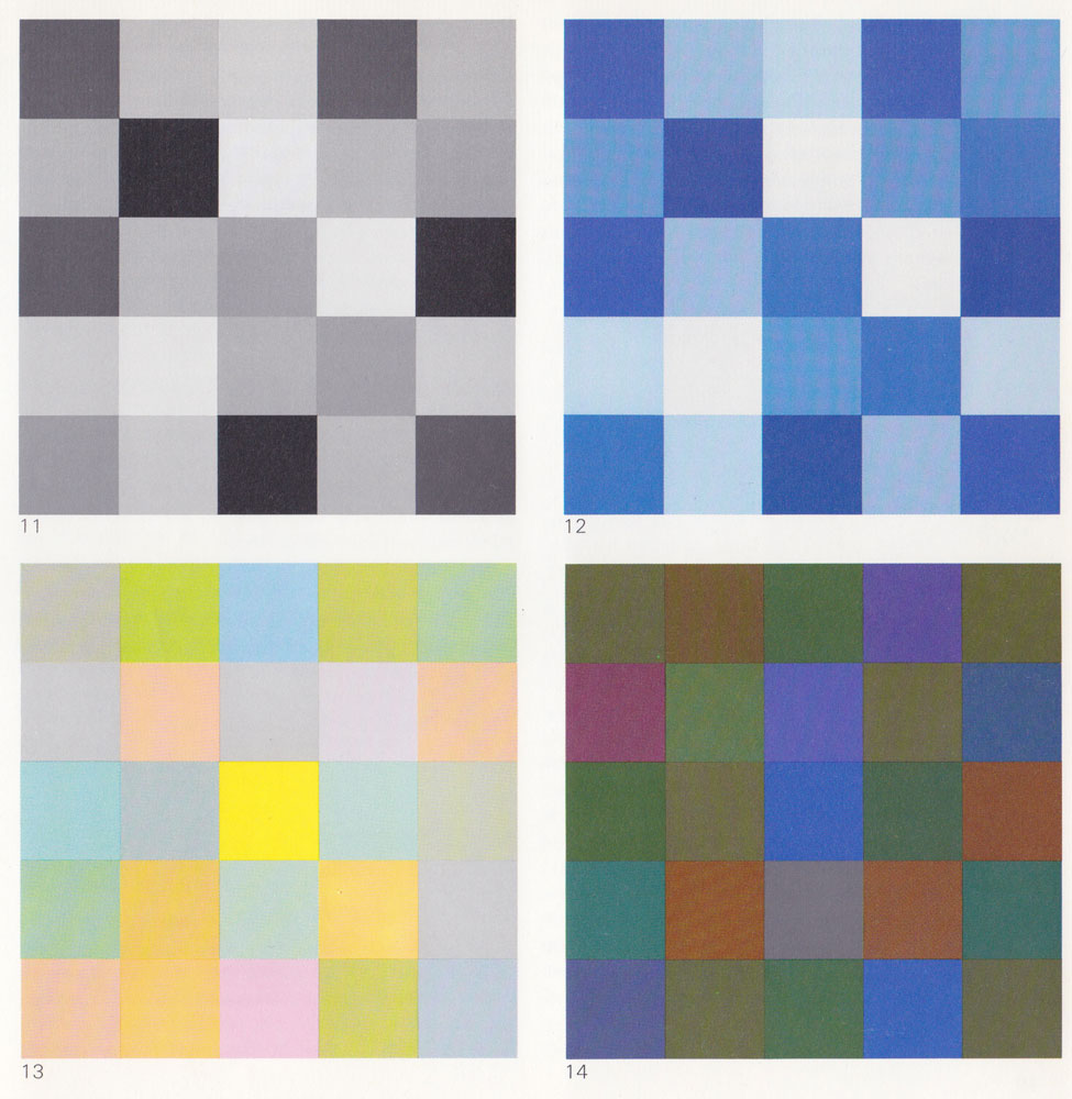 Light-Dark Contrast 11 Light-dark composition in black, white, and grays 12  Same composition as Fig. 11, in blue 13 Colors of equal brilliance