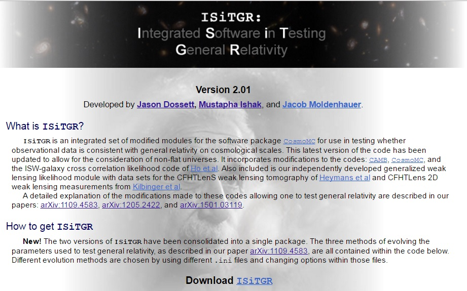 ISiTGR (Integrated Software in Testing General Relativity)
