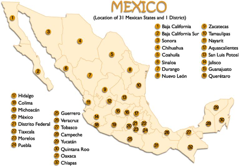 Map - Picture of map of mexico