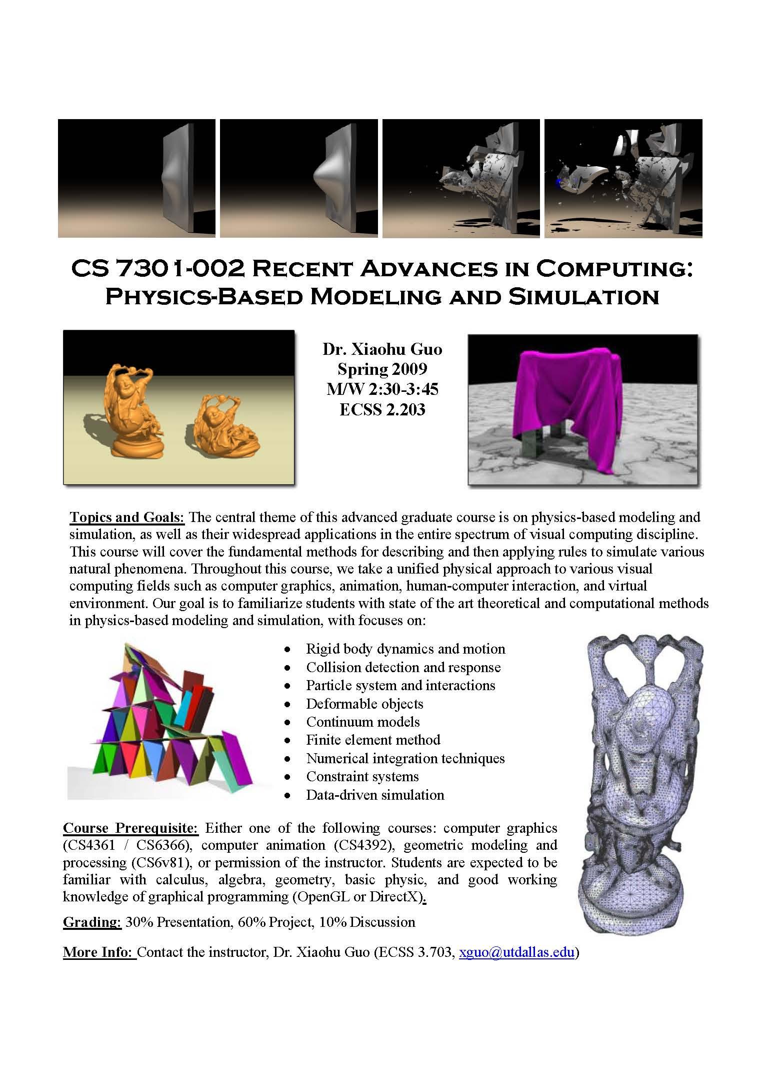 CS7301-002 Physics-Based Modeling and Simulation